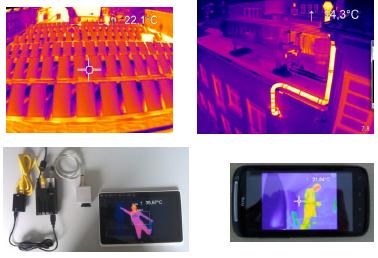 Wärmebild-Dachkontrollen, Solarfeldkontrollflug, Wärmebilder wireless auf iPhone Smartphone