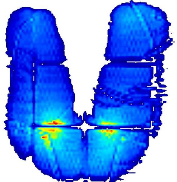 Hohe Auflösung und Messqualität mit XSensor, Aufnahme einer gepolsterten Sitzfläche
